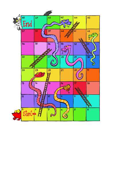 colourful snakes and ladders board game print out (A4)